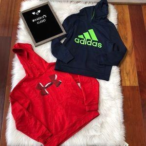 Boys Medium 10/12 hoodies Under Armour and Adidas